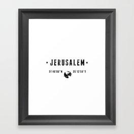 Jerusalem geographic coordinates Framed Art Print
