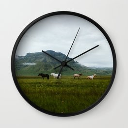 Icelandic Horses Posing for a Photo Wall Clock