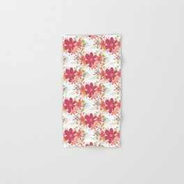 Pink coral teal hand painted floral illustration Hand & Bath Towel