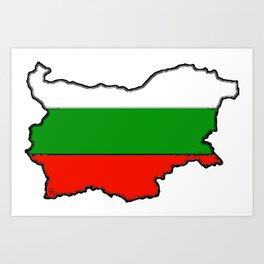 Bulgaria Map with Bulgarian Flag Art Print