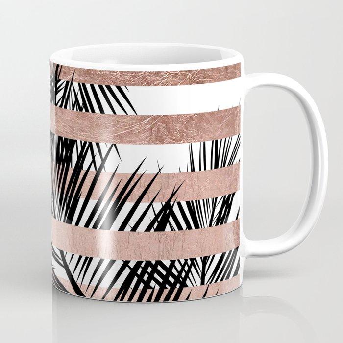 Trendy tropical palm trees chic rose gold stripes Coffee Mug