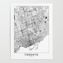 Toronto White Map Poster