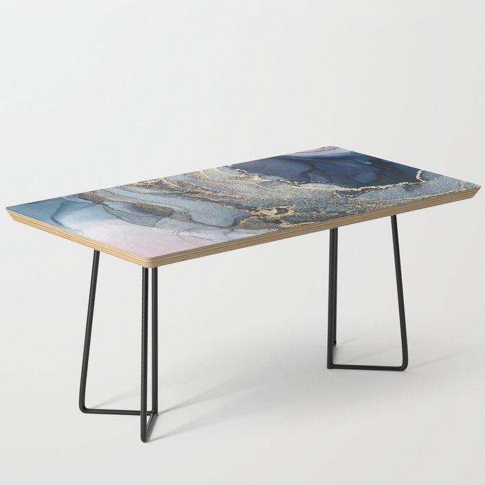Blush, Payne's Gray and Gold Metallic Abstract Coffee Table