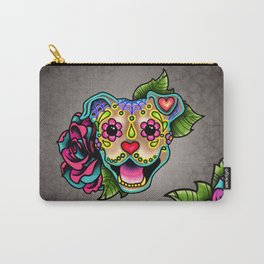 Smiling Pit Bull in Fawn - Day of the Dead Pitbull Sugar Skull Carry-All Pouch
