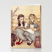 facebook Stationery Cards featuring Dorothy and Alice by Helen Green