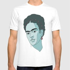 Frida Kahlo LARGE White Mens Fitted Tee