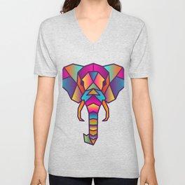 Elephant   Geometric Colorful Low Poly Animal Set Unisex V-Neck