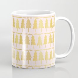 Luxe Rose Gold Christmas Tree Pattern, Seamless Vector Background Coffee Mug