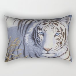 White Tiger with Blue Eyes Rectangular Pillow