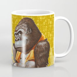 Relaxing Gorilla on Gold-leaf Screen Coffee Mug