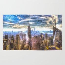 New York Manhattan Skyline Art Rug
