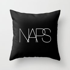 Naps Cosmetic Chic Black Typography Throw Pillow