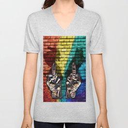 EFF cats rainbows and unicorns Unisex V-Neck
