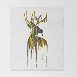 Painted Stag Throw Blanket