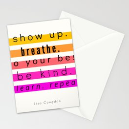 Show Up Motivational Quote Stationery Cards