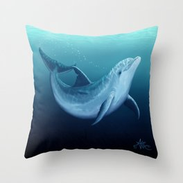"""Riversoul Blue"" by Amber Marine ~ Dolphin Art, (Copyright 2014) Throw Pillow"