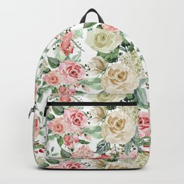 White and Pink Roses Pattern Backpack