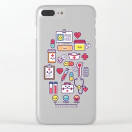Proud To Be a Nurse Pattern / Purple Clear iPhone Case