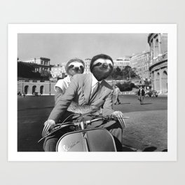 Sloth in Roman Holiday Art Print