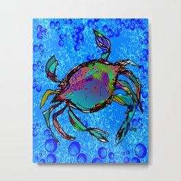 Blue Crab Bubbles Metal Print