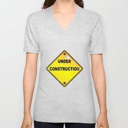 Yellow Under Construction Sign Unisex V-Neck