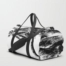 Black and White Palm Tree with Hawaii Summer Sea Beach Duffle Bag