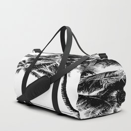 Black and White Palm Tree with Hawaii Summer Sea Beach Duffle Bag