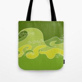 Waves V green colors V WH Tote Bag
