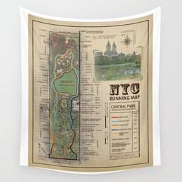 """NYC's Central Park [Vintage Inspired] """"San Remo"""" Running route map Wall Tapestry"""