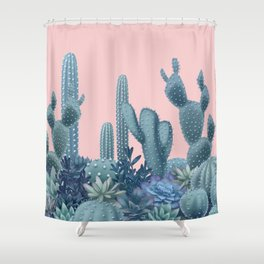 Milagritos Cacti on Rose Quartz Background Shower Curtain