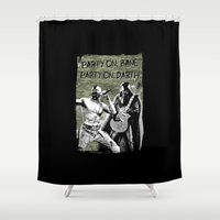 bane Shower Curtains featuring Bane/Darth in Camo by The Cracked Dispensary