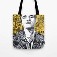 tarantino Tote Bags featuring Tarantino by Matthew Brazier Illustration