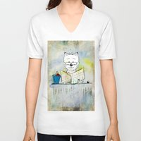 westie V-neck T-shirts featuring West Highland White Terrier ~ Westie ~ Sophisticated Wally ~ Ginkelmier by Ginkelmier