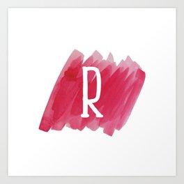 Letter R Pink Watercolor Art Print