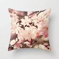 cherry blossom Throw Pillows featuring Cherry Blossom by Erin Johnson