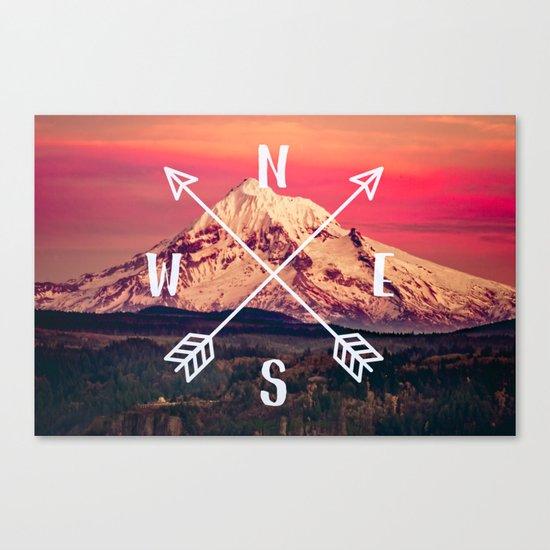 Snowy Mountain Compass Canvas Print