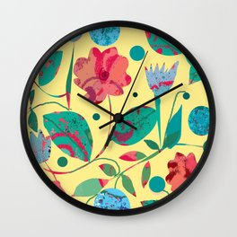 Flowers and Planets Wall Clock