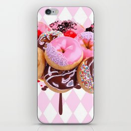 CHOCOLATE & PINK  STRAWBERRY GLAZED DONUTS ART iPhone Skin