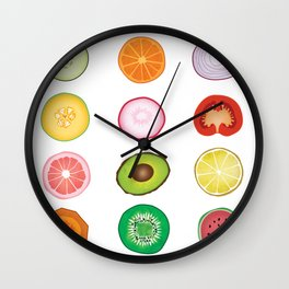 Fruit and Vegetable Collaged Art Wall Clock