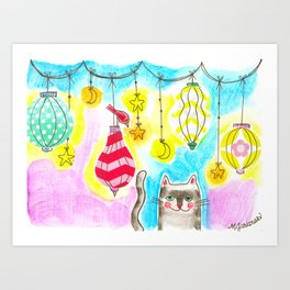 Kitty Cat Lanterns Art Print