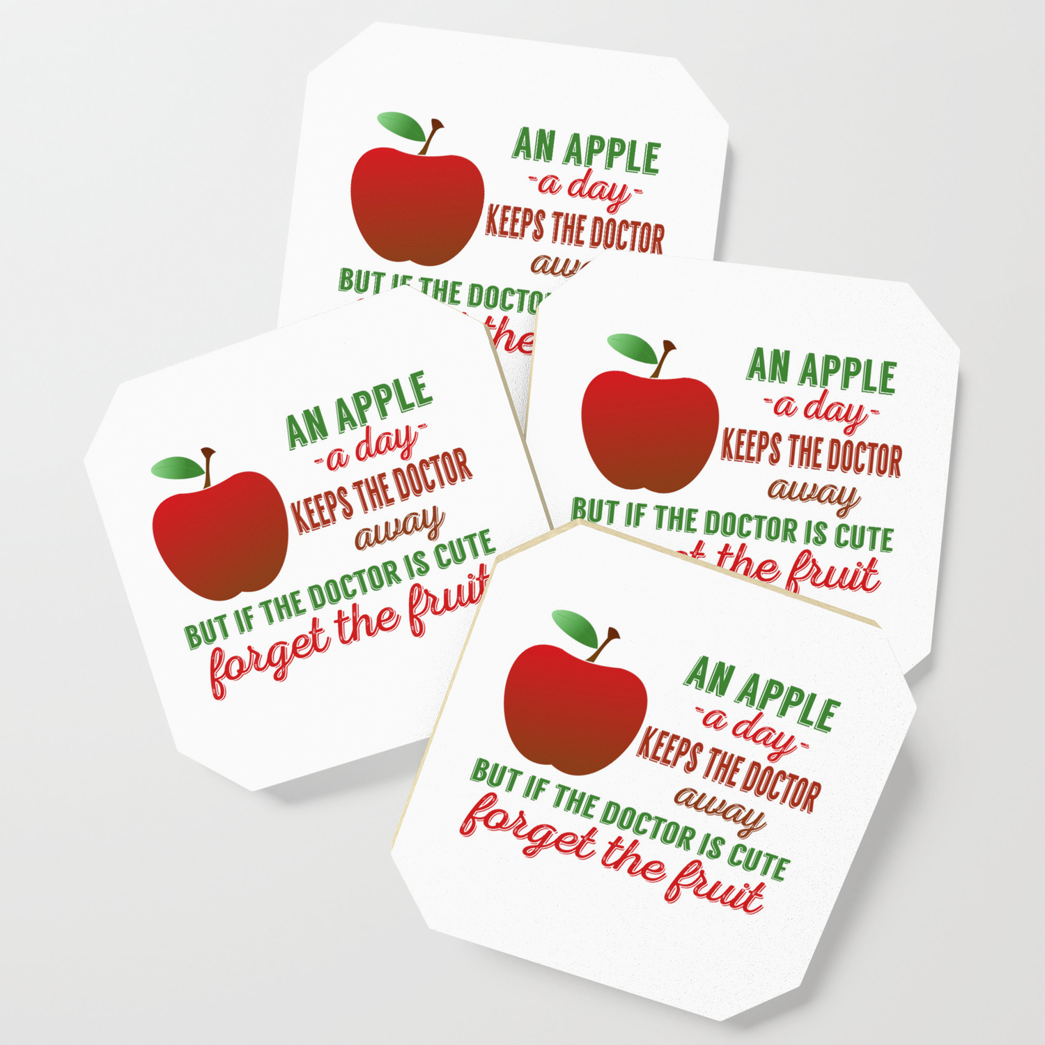 An Apple A Day Keeps The Doctor Away Coaster by passionloft