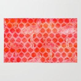 Watercolor Pink Flamingo Tropical Geometric Pattern Rug