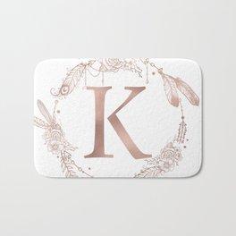 Letter K Rose Gold Pink Initial Monogram Bath Mat