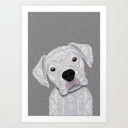 Cute White Boxer Art Print