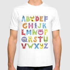 Alphabet Monsters MEDIUM White Mens Fitted Tee