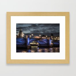 St Paul's Cathedral & Southwark Bridge At Night Framed Art Print
