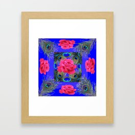 CONTEMPORARY PINK ROSES & PEACOCK FEATHERS BLUE ART Framed Art Print