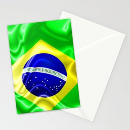 Brazil Flag Waving Silk Fabric Stationery Cards