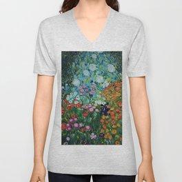 Flower Garden Riot of Colors by Gustav Klimt Unisex V-Neck