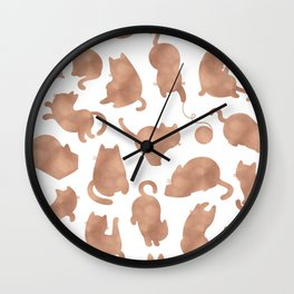 Rose gold cats Wall Clock